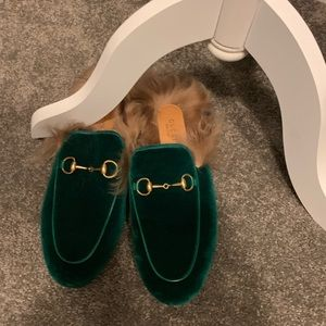 Green Gucci loafers